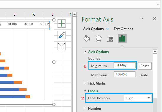 Set Minimum Value and Label Position For Stacked Bar Chart in Excel
