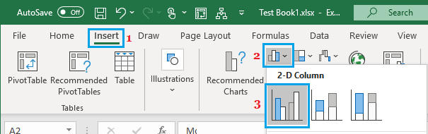 Insert Clustered Columns Chart in Excel