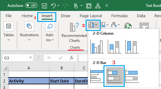 Insert Stacked Bar Chart in Excel