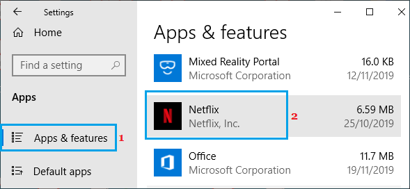 Netflix App on Windows Settings Screen