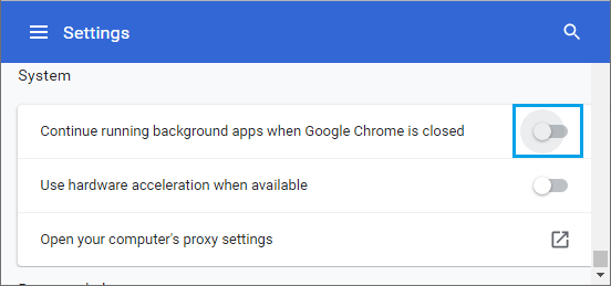 Disable Background Running Apps in Google Chrome