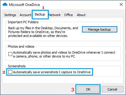 Prevent Screenshots From Auto Saving to OneDrive