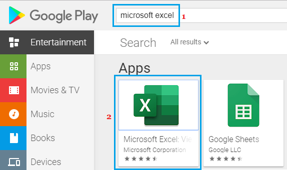 Search For Microsoft Excel App on Google Play Store