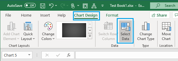 Select Data Option in Excel Chart Design Tab