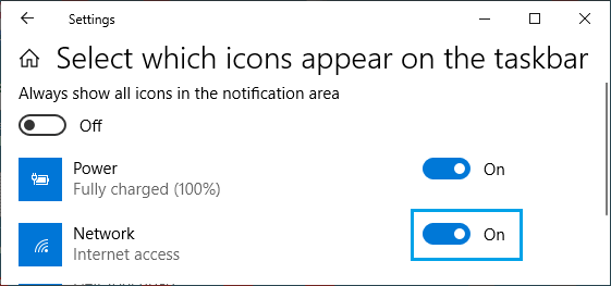 Select Network Icon to Appear in Windows Taskbar