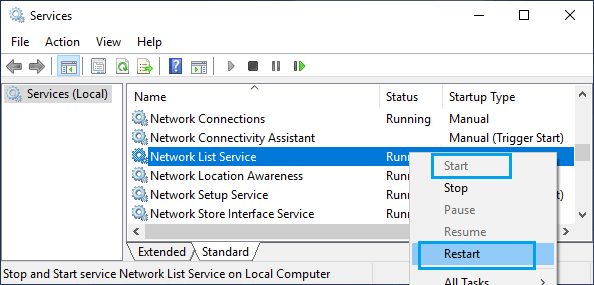 Restart Network List Service in Windows