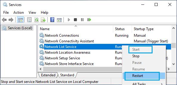 Restart Network List Service in Windows
