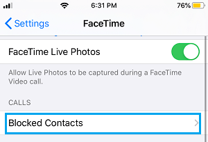 Blocked Contacts Tab on FaceTime Settings