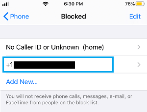 List of Blocked Numbers on iPhone