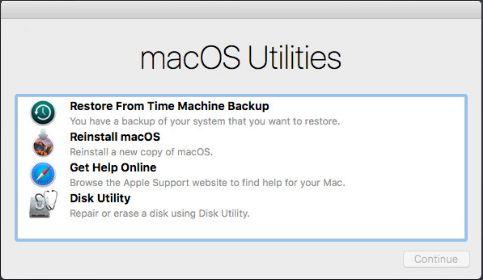 macOs Utilities Startup Screen
