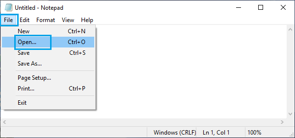 Open File Option in Notepad