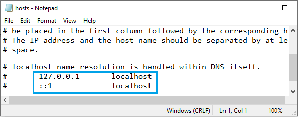 IP Addresses on Windows Hosts File