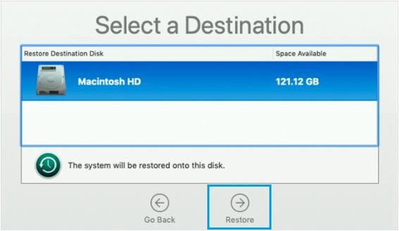 Select Destination Source For Time Machine Restore