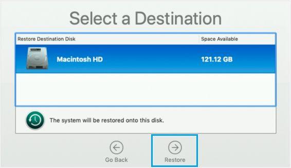 Select Destination Source For Time Machine Restore