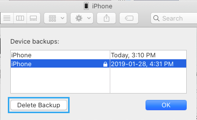 Delete iPhone Backups on Mac