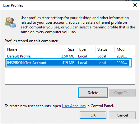 Delete Selected User Profile in Windows