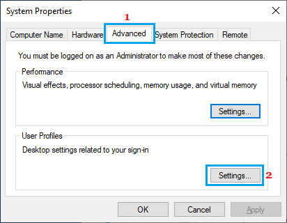 Open User Profile Settings on Windows PC