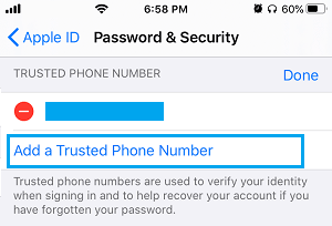 Add Trusted Phone Number to iPhone