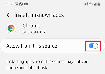 Allow App Installation From This Source