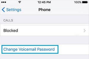 Change Voicemail Password Option on iPhone