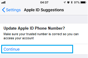 Open Update Apple ID Phone Number Notification