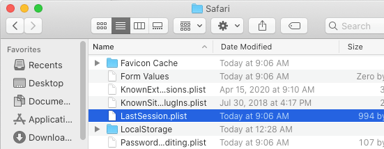 Remove Safari LastSession plist file