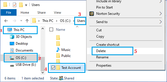 Delete User Account Folder in Windows