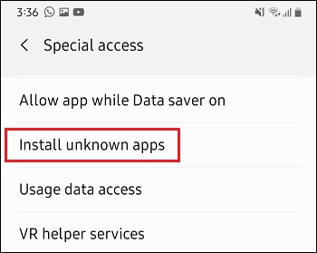 Install Unknown Apps Tab in Android