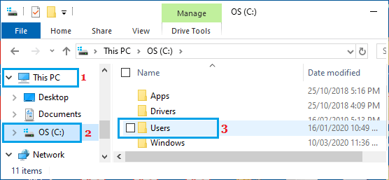 Open Users Folder Using Windows File Explorer