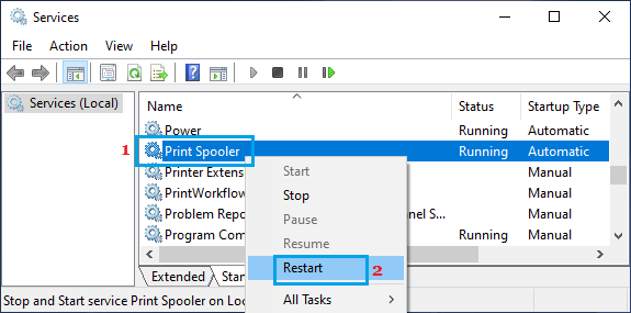 Restart Print Spooler Service
