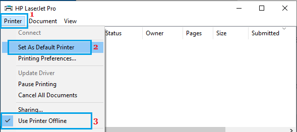 Set As Default Printer Option in Windows