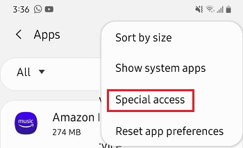 Special Access Tab in Android Settings