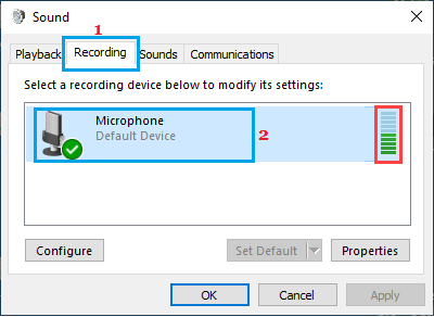 Test Microphone Option in Windows