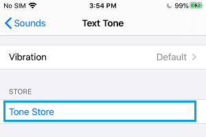 Tone Store Option on iPhone Settings Screen