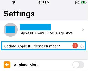 Update Apple ID Phone Number Notification