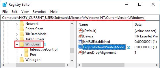 LegacyDefaultPrinterMode Key in Windows Registry