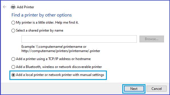 Add Local or Network Printer Option in Windows