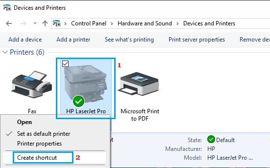 Create Printer Shortcut in Windows