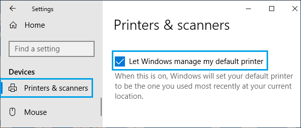 Let Windows Manage My Default Printer Option