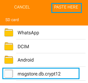 Paste WhatsApp Backup to SD Card