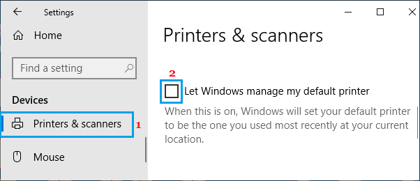 Uncheck Let Windows Manage My Default Printer