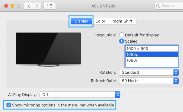 Select Screen Mirroring Options on Mac