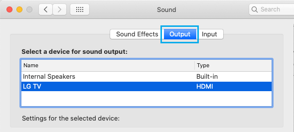 Select TV as Sound Output Device