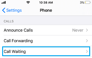 Call Waiting Setting Option on iPhone