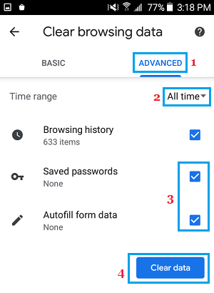 Clear Chrome Browsing Data from Android Phone