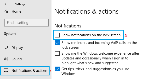 Disable Lock Screen Notifications on Windows PC