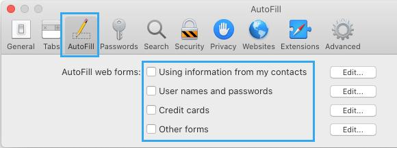 Disable AutoFill in Safari Browser