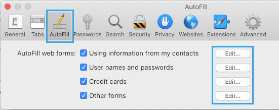 Edit AutoFill Info in Safari Browser