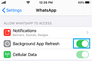 Enable Background App Refresh For WhatsApp