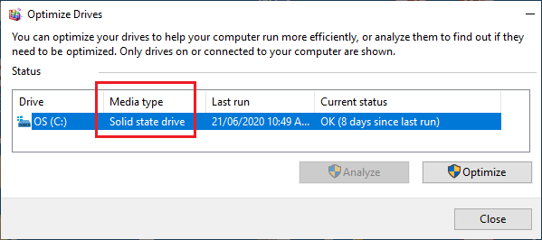 Hard Drive Type Listed on Optimize Drives Screen